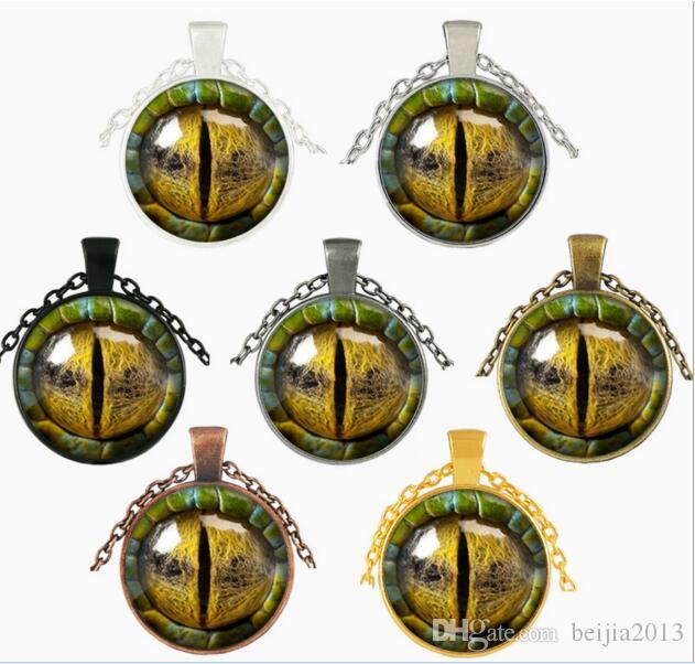 Dreidimensionale Drachenauge Halskette Anhänger Bunte Glas Cabochon Dome Kette Halsketten Schmuck FTCN49