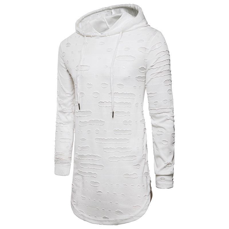 e8b66676b Men Hoodies 2018 Spring New Fashion Male Black White Casual Hoodies  Sweatshirt Men s Hole Hip Hop Long Sleeved
