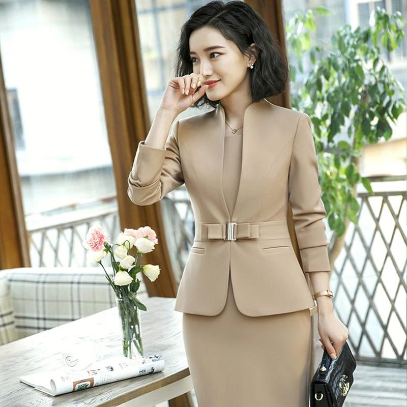1412bcf65 Blazer con Vestido Mujer 2018 Nueva Primavera Otoño Mujer de manga larga  Oficina Formal Elegante Chaqueta Mujer Trajes Femme Blaser S18101304
