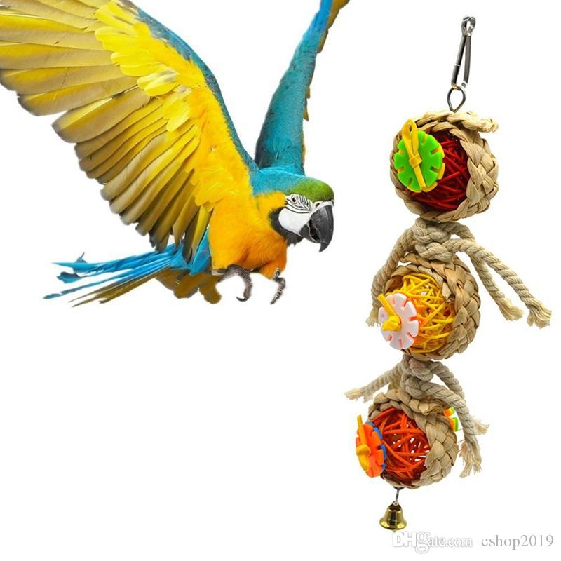 Perroquet jouets balle animal morsures oiseaux grimper mâcher jouets suspendus cockatiel perruche balançoire perroquet cage oiseaux jouets