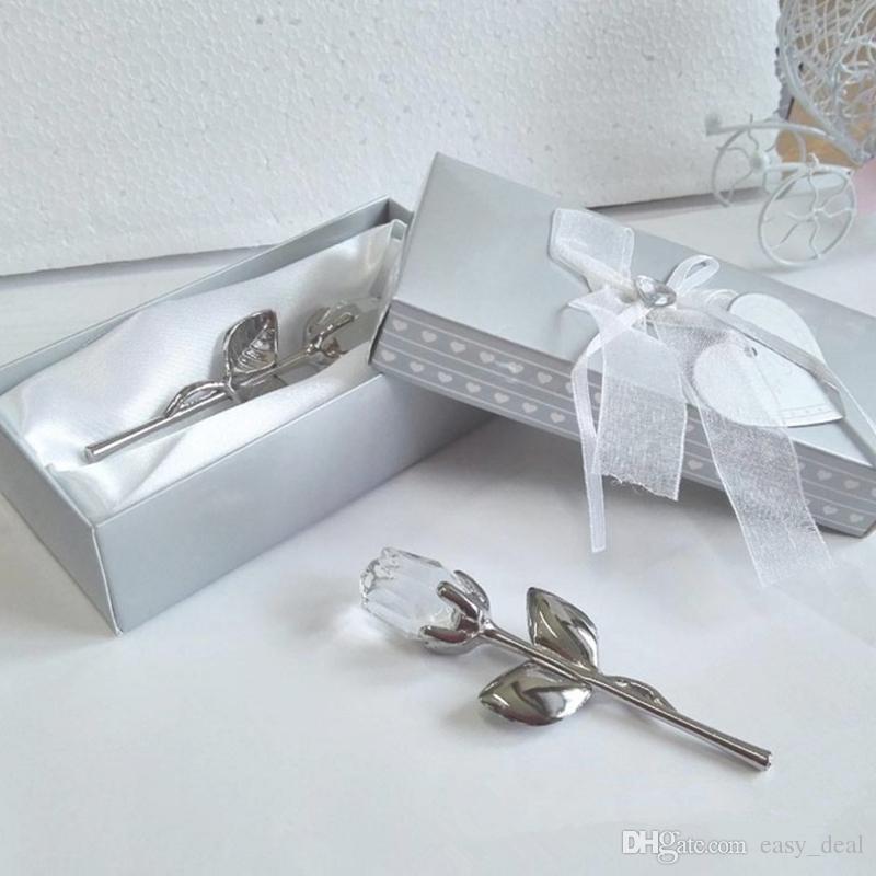 Hochzeit Gefälligkeiten und Geschenke Zurück Geschenke für Gäste Crystal Red Rose Lange Stiel Rose Geschenke für Mädchen Geburtstagsgeschenk F20172925
