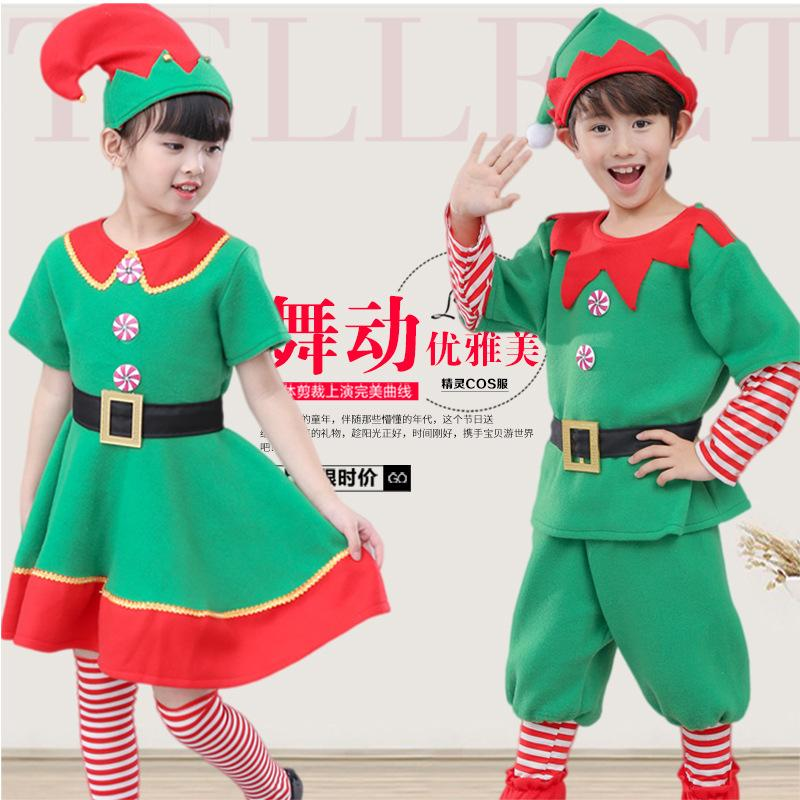 98b349a70d94 Children's Halloween Costumes Performing Low-carbon Living Green Elf ...