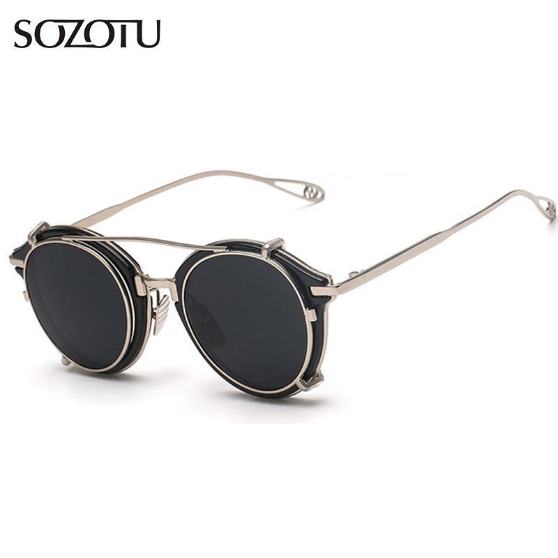 d5548192e9 2016 Fashion Steampunk Goggles Round Sunglasses Women Men Vintage ...