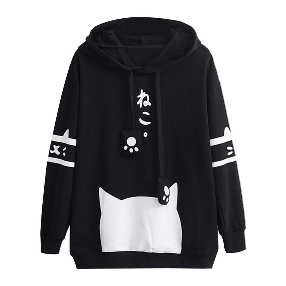2019 Kawaii Kitty Cat Print Hoodie Womens Long Sleeve Casual Sweatshirt Cat  Ears Drawstring Hoody Pullover  EP From Liasheng10 15c5d46ed5e0