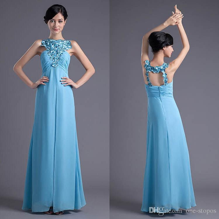 1c09276761 Bateau 2018 Long Chiffon Bridesmaid Dresses For Wedding Party Sky Blue  Ethnic Embroidery Maid Of Honor Gowns Formal Evening Dress ZPT026 Prom And  Bridesmaid ...