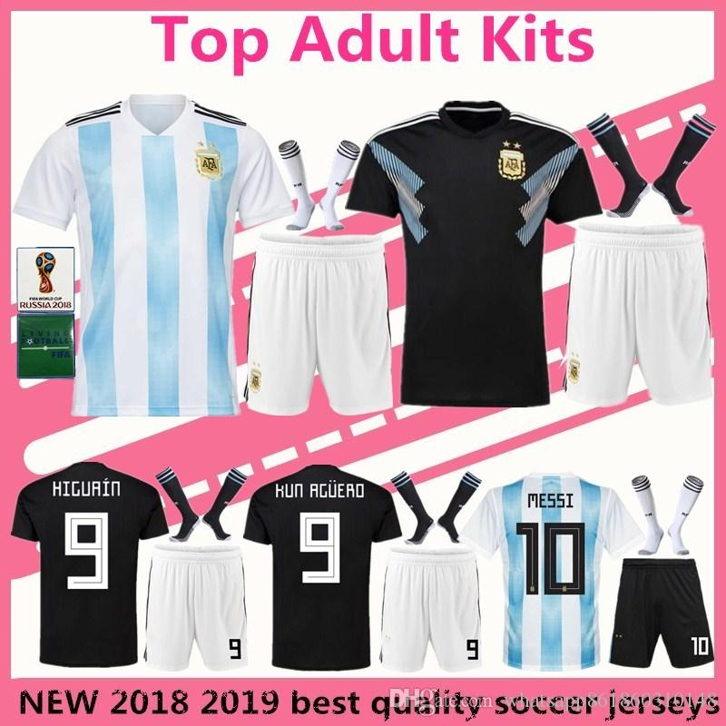 be2aa577a Adult Kits Argentina Soccer Jersey 2018 World Cup Messi Home Away ...