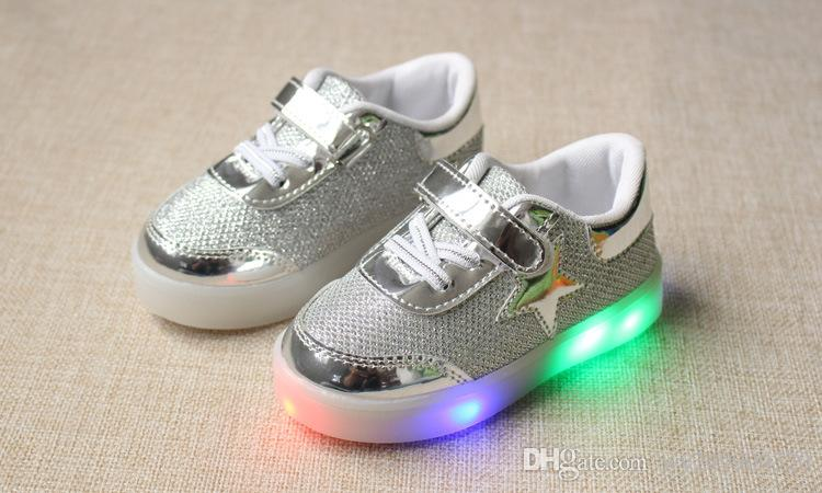 Star light leather shoes LED light shoes magic buckle anti-skid baby shoes size 21-30