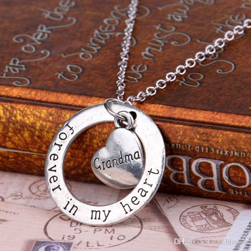 Член семьи подарки посеребренные папа сердце отец навсегда в моем сердце круг круглый кулон ожерелье мужчины Рождество ювелирные изделия партии бесплатно DHL D889S