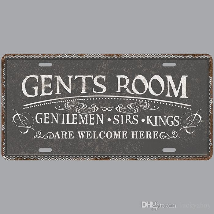 Gents Room Gentlemen Sirs Kings Retro License Plates Vintage Tin Sign Art Wall Plaque decor Home Metal Painting Bar Pub