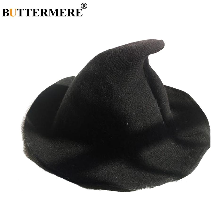 BUTTERMER Knitted Bucket Hats Ladies Black Cotton Witch Hat For Women Large  Brim Uv Cute Female Solid Autumn Winter Fishing Caps Trucker Hats Boonie Hat  ... cd26ae69d65e
