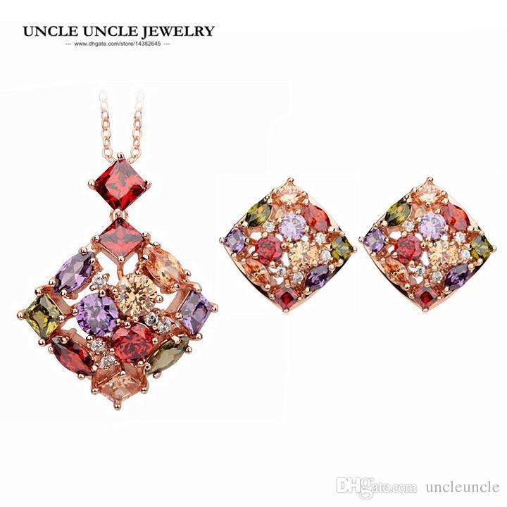 491bc7e1 Conjunto de joyas multicolores de lujo de oro rosa de color cubic zirconia  cuadrado mujer conjuntos pendiente / collar regalo al por mayor