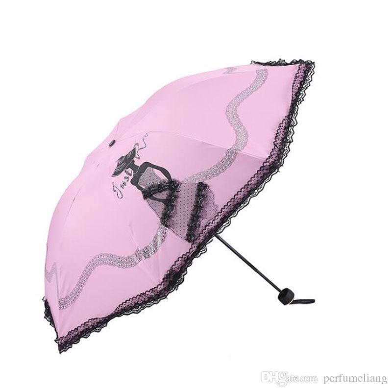 Beweglicher faltender Anti-UVspitzegeschirm-Frauen-Prinzessin-weiblicher Sun-Regen-Regenschirm-schwarzer Kleber-freies Verschiffen ZA6653