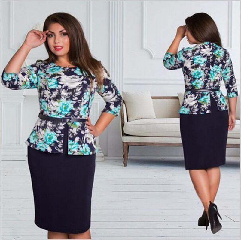 8034e496baa Big Size 6XL 2018 Summer Women Dress Fat MM Casual Bodycon Loose Printing Office  Dresses Plus Size Women Clothing 6XL Dress Cocktail Dresses Juniors Grey ...