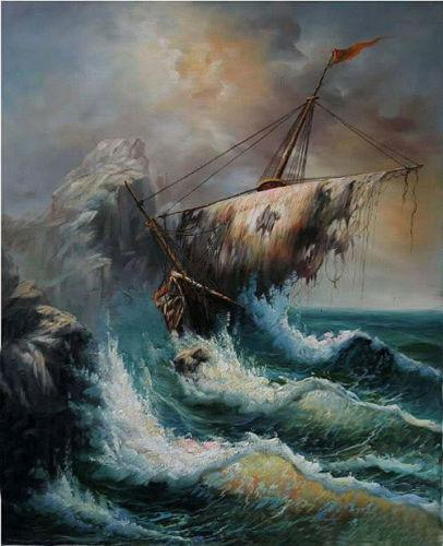 Compre Naufragio Embarcacion Rota Con Olas Marinas Pintadas A Mano