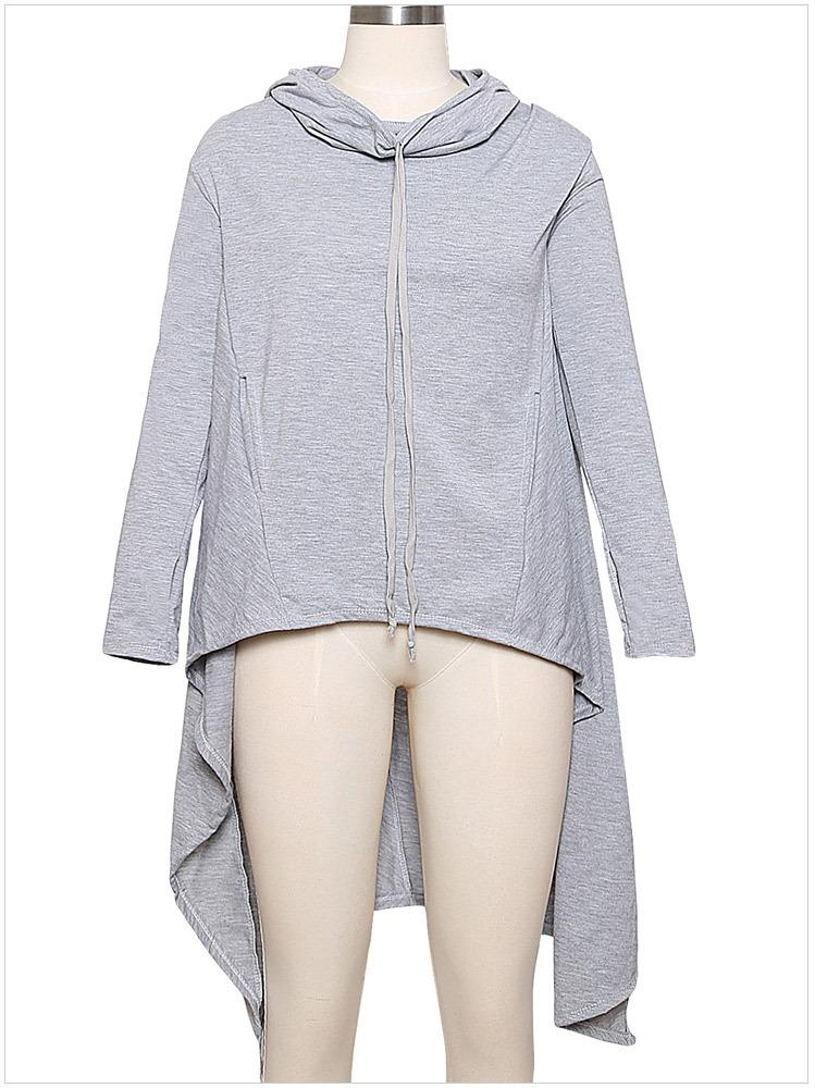 Womens Spring New Hoodies Solid Colors Sports Clothing Irregular Front Short Back Long Loose Pullovers Long Sweatshirts Large Size