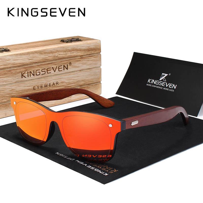 e37269a659b1 KINGSEVEN Wood Sunglasses Men Women Square Bamboo Women Mirror Sun Glasses Oculos  De Sol Masculino Handmade With Wooden Case Sunglasses Shop Bolle ...
