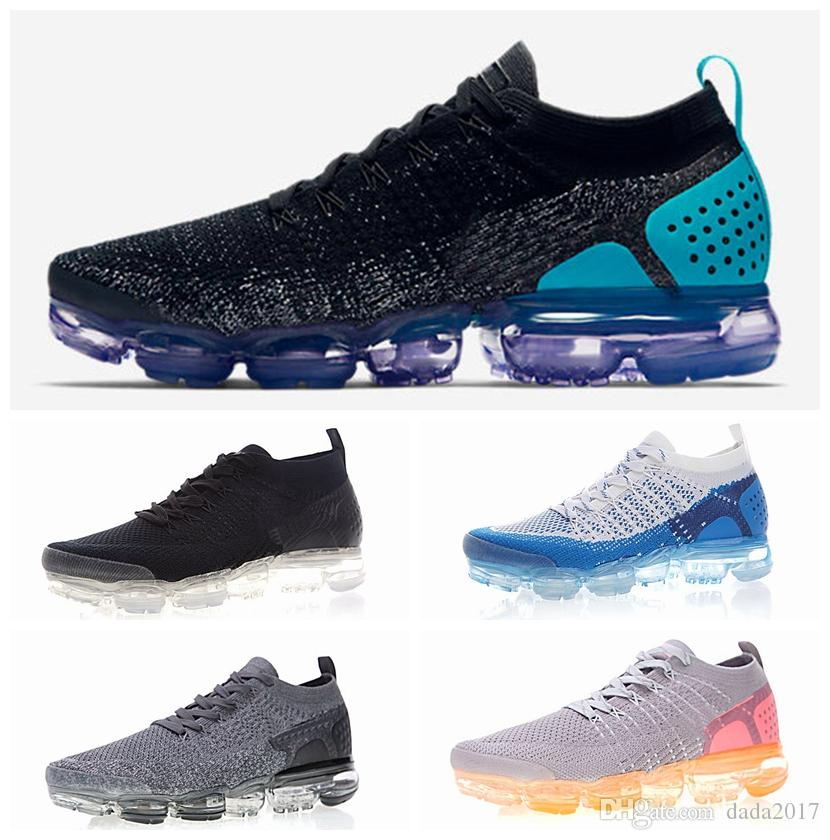 New 2018 VaporMax 2.0 Knit Men Women Running Shoes Fashion Black White Blue Pink Air Cushion Sports Sneakers Size 36-45 best online classic online oBChTR95n