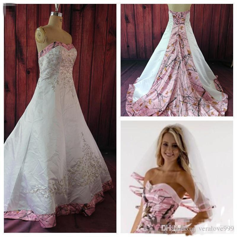 4f73fa92be8 Discount Fashion Pink Camo Wedding Dresses Sweetheart Embroidery Beading Formal  Bridal Gowns Camouflage Custom Lace Up Wedding Gowns Short Wedding Dresses  ...