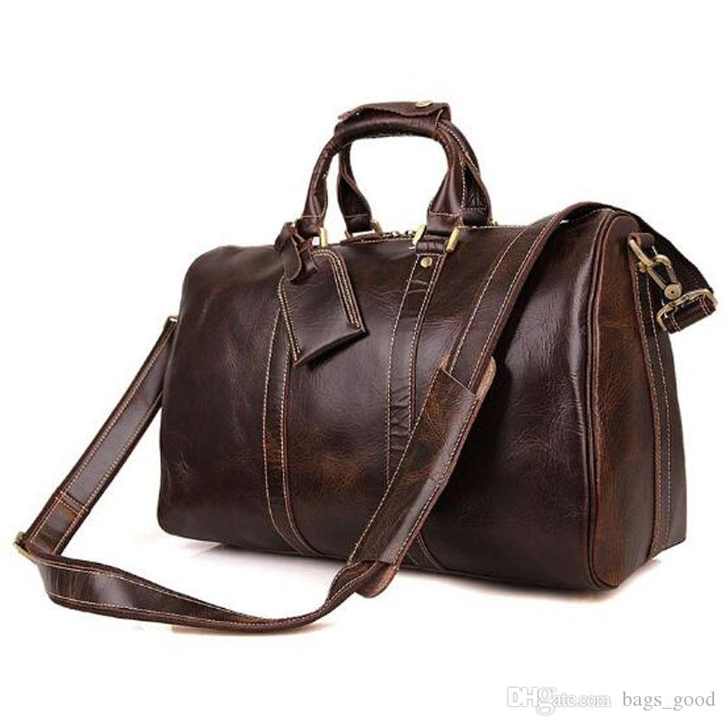 2018 New Fashion Men Women Genuine Leather Travel Bag Duffle Bag Brand  Designer Luggage Handbags Large Capacity Sport Bag Toiletry Bags Best Gym  Bags From ... 80aff033fc060