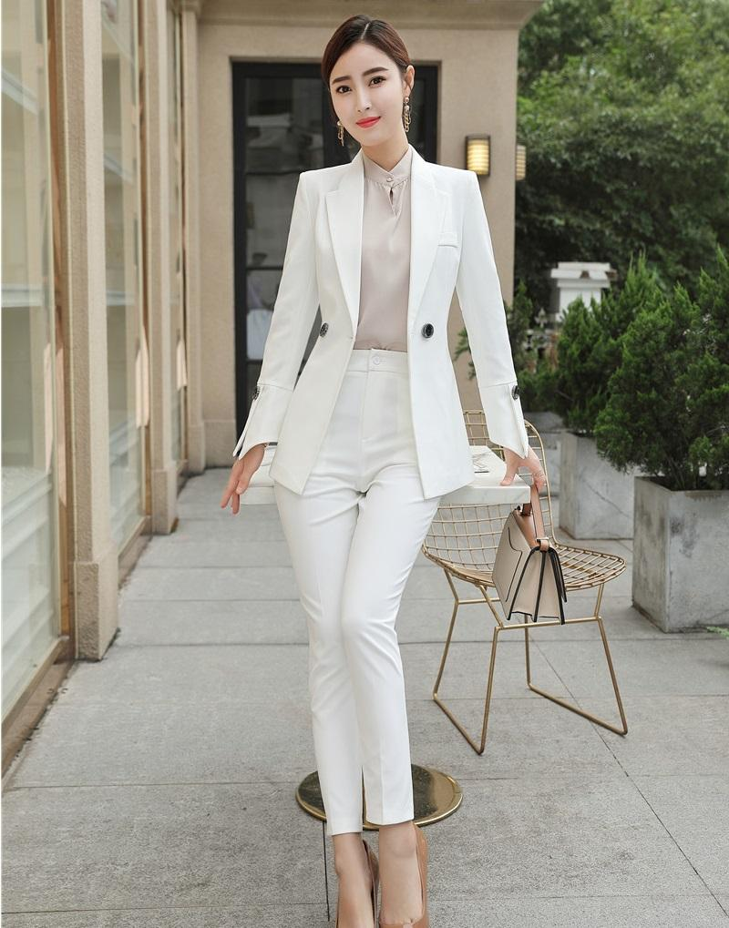 64cea7cd1017 2019 Fashion Casual Ladies White Blazer Women Business Suits Pant And Jacket  Sets Work Wear Office Uniform Styles OL From Beenlo, $90.21 | DHgate.Com