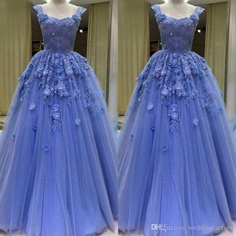 e6195f70fe0 Gorgeous 2019 Prom Dresses Long Dress Scoop Neck Sleeveless 3d Floral Lace  Appliques Beaded Handmade Flowers Tulle Evening Gowns Sweep Train Stores  With ...