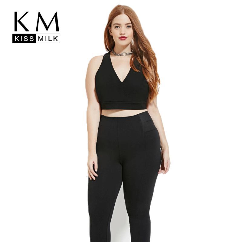 f8c50c2abb8 Kissmilk Plus Size 2018 Women Summer Vest Back Cross V-Neck Sexy ...