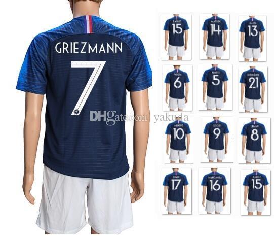 d1b7d1c4f95 2019 Customized 18 19 Soccer Jersey Sets With Shorts,10 Mbappe 11 Dembele 7  Griezmann 9 Giroud 6 Pogba 8 Lemar 10 Lacazette 13 Kante Uniforms KIT From  ...