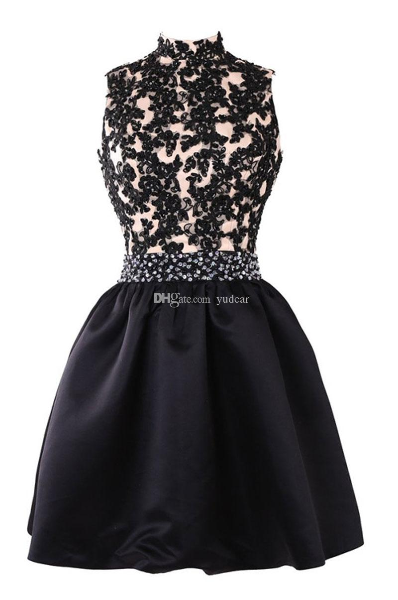 2020 Classic High Collar A-line Short Homecoming Dresses Top Heavy Appliques Sequins Crystal Beaded Sash Prom Dress Open Back Cocktail Gowns