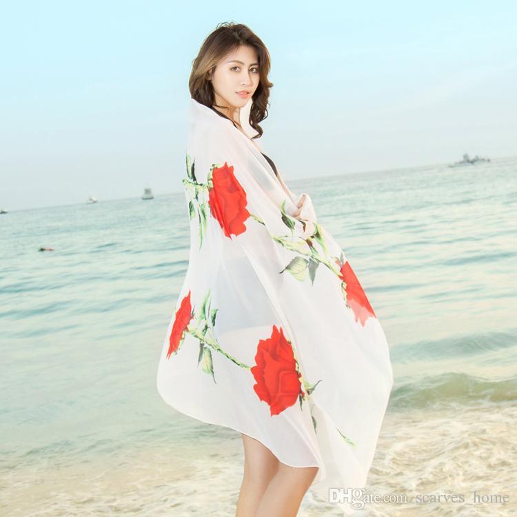 Nuova moda donna Georgette Long Wrap Scialle Beach Silk Scarf Sciarpe Accessori moda Florial Stampa 200 * 100CM