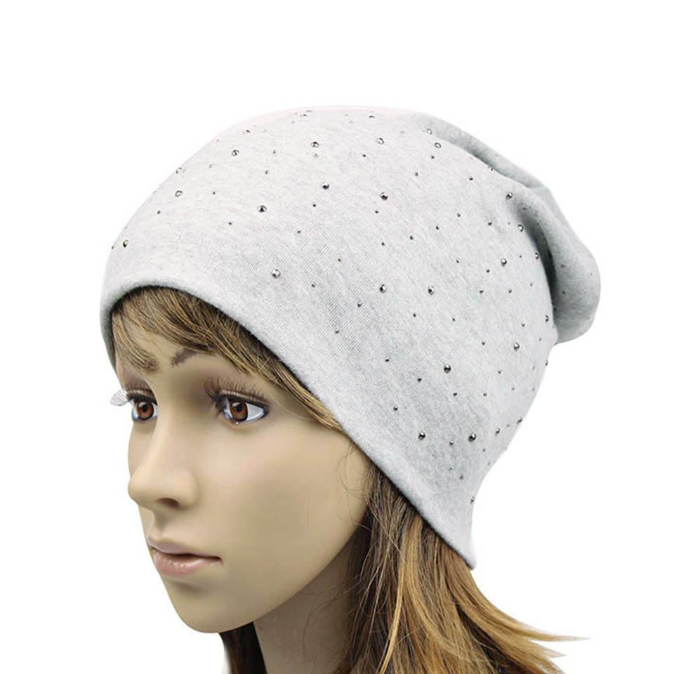 Women s Beanie Hat Fashion Rhinestones Cotton Slouchy Beanies For Women  Ladies Skullies Beanies Knitted Cap Balaclava Hat Gorras f9759be79ee