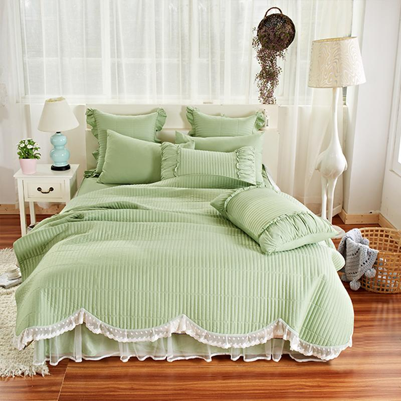 Luxury Coon Lace Throw Blanket Bedspread KingQueen Size PinkGreen Beauteous How To Drape A Throw Blanket On A Bed
