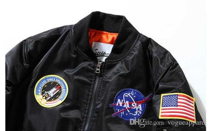 NASA Men MA1 Bomber Jackets Primavera Otoño Vuelo Piloto Chaqueta Abrigo Bordado Béisbol Abrigos
