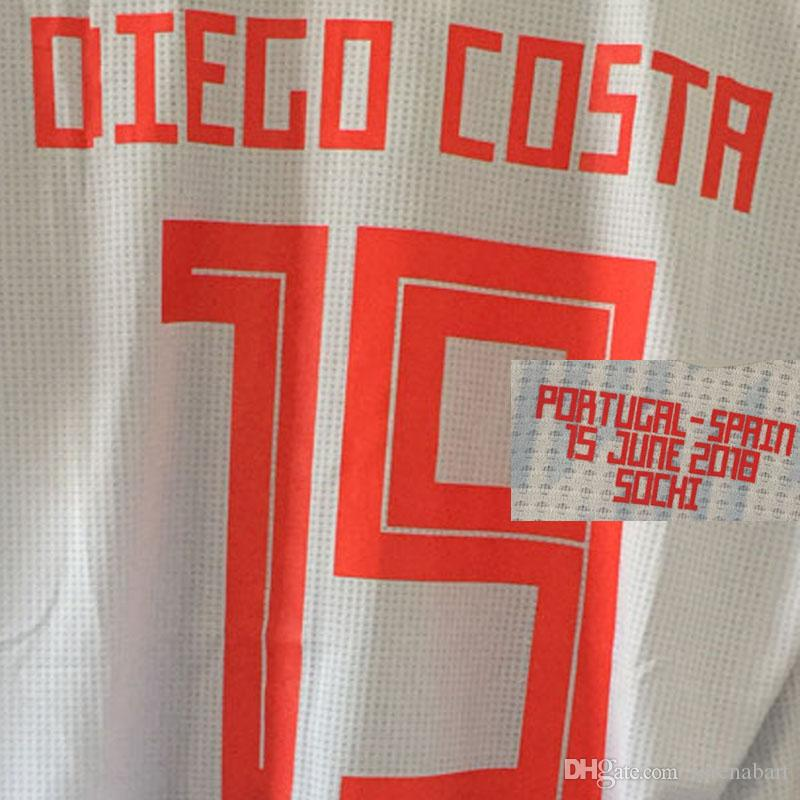 2018 Match Worn Player Issue SPain Jersey Isco Diego COsta With ... 0f98a7949