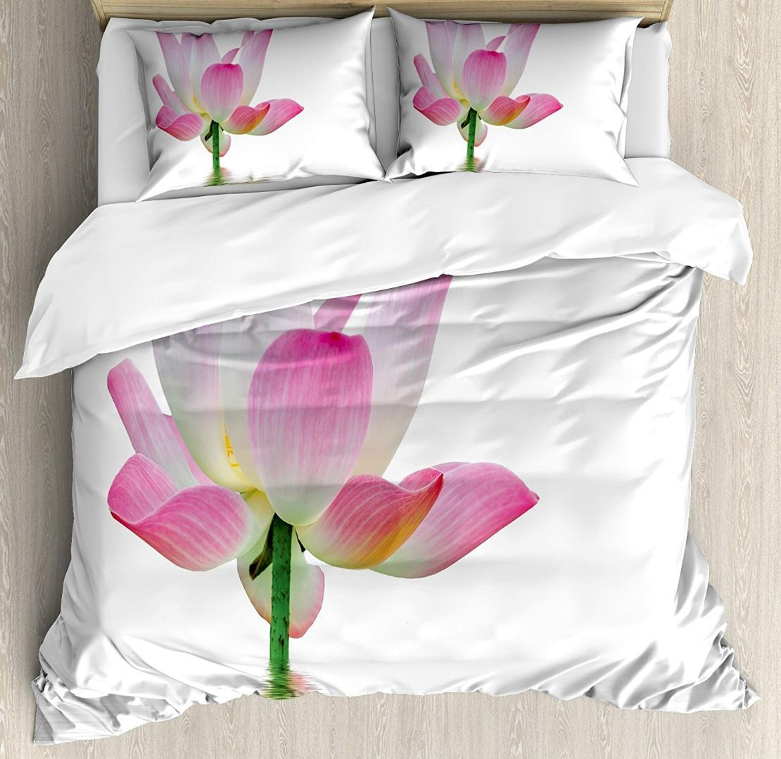 Pink And White Duvet Cover Set Lotus Flower In Freshwater Aquatic