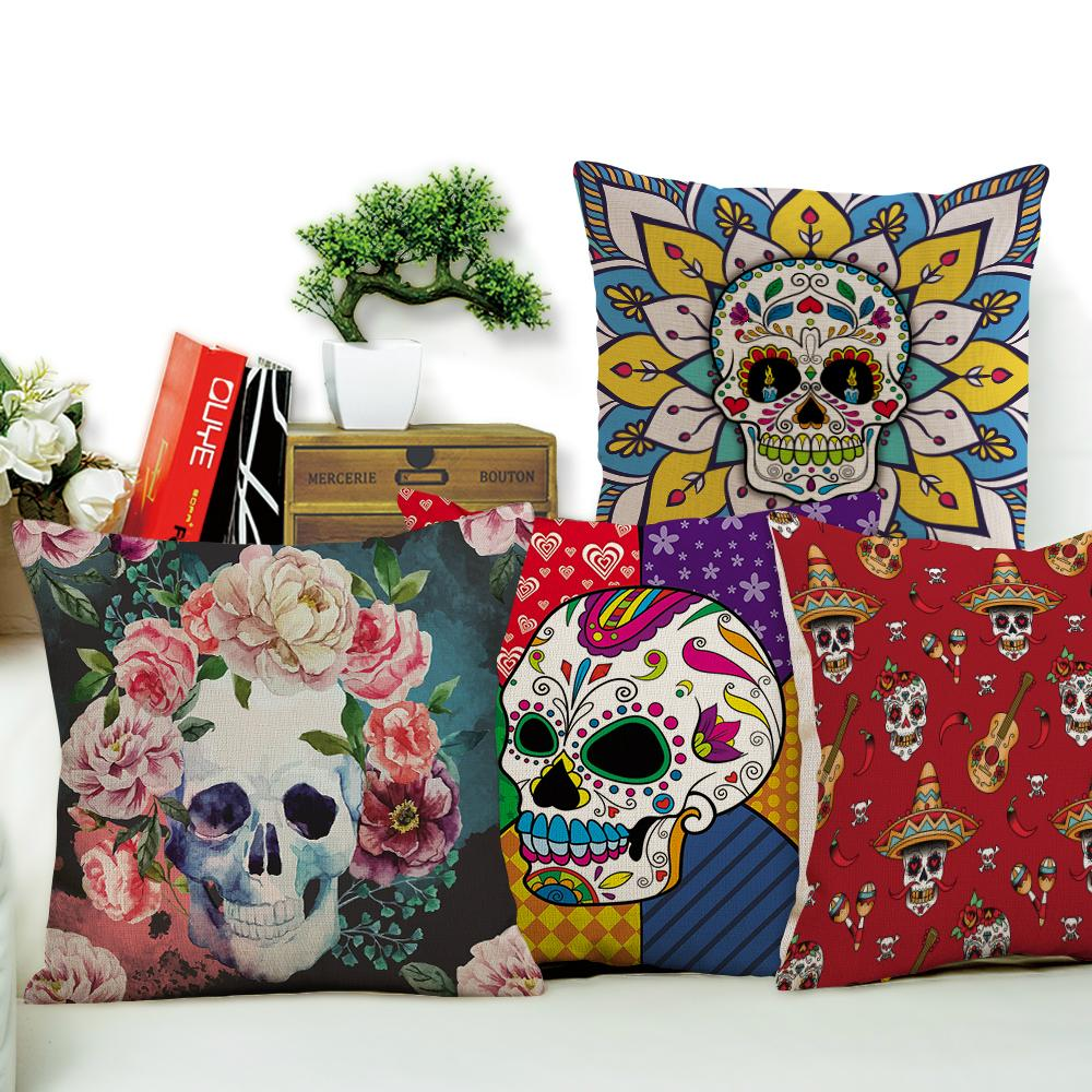 Merveilleux Sugar Skull Cushion Cover Coffee House Punk Skull Art Linen Blend  Pillowcase Home Decorative Throw Cushion Pillow Case Outdoor Patio Seat  Cushions Patio ...