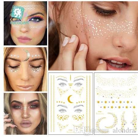 d94f658fa Rocooart Gold Face Tattoo Freckles Make Up Fake Tattoo Eye Flash Taty Body  Art Waterproof Temporary Tattoo Stickers Party Temporary Tattoos Large  Temporary ...