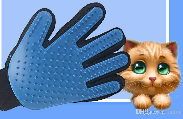 2019 pet grooming glove gentle deshedding brush bathing glove rh dhgate com