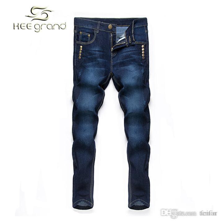 8ffaf53bf Compre Al Por Mayor Jeans Para Hombres 2016 Venta Caliente Jeans De Moda  Remache Inglaterra Estilo Mediados De Cintura Jeans Rectos Masculino 28 34  Tamaño ...
