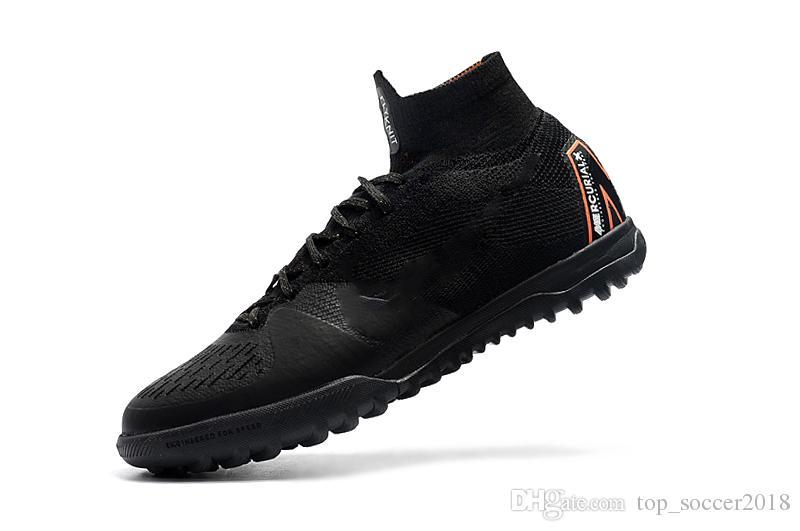2018 Top Full Black Soccer Cleats Cristiano Ronaldo Turf Football Boots Original Mercurial Superfly V Mens Indoor Soccer Shoes