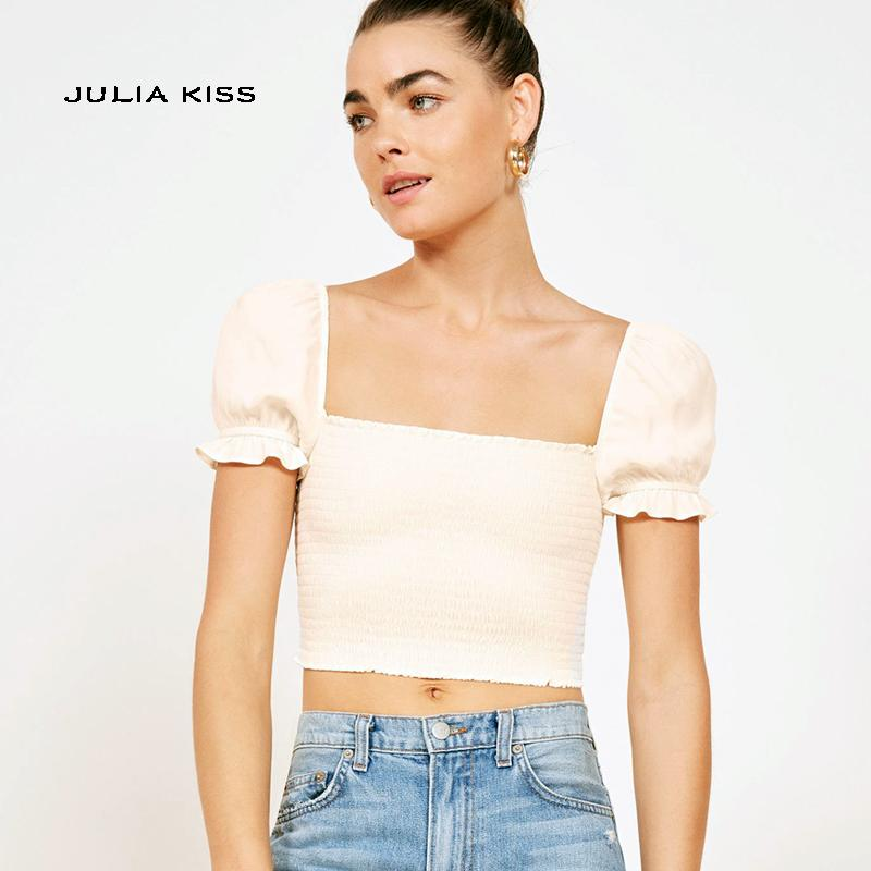 76e6bc9445204 2019 Women Vintage Square Neck Smocked Crop Top With Frill Trim Puff Sleeve  Chiffon Shirring Blouse From Maluokui