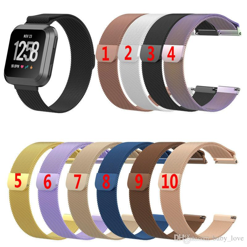 Stainless Steel Mesh Milanese Magnetic Loop Wrist Band Strap for Fitbit Versa Smart Watch Straps Bracelet Wristband
