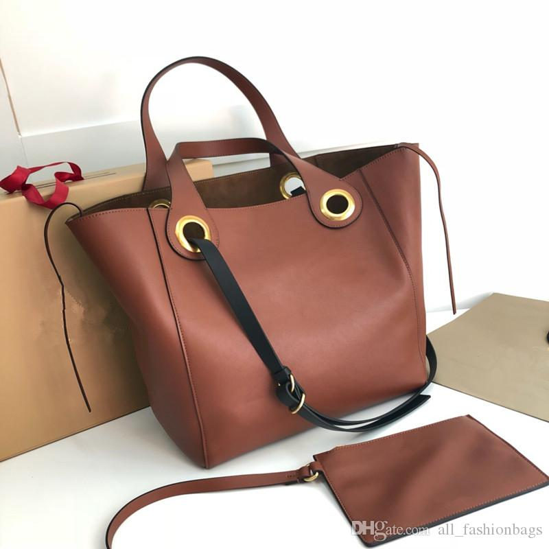 Best Original Quality 100% Authentic Calf Skin LUXURY Grommet Detail Bags  The Large Leather Detail Tote Brand Designer Shoulder Bag Handbags Leather  ... 8462c7584a267