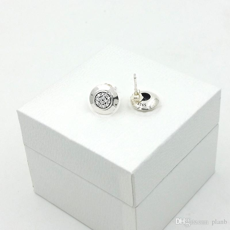 Mulheres Design clássico Jóias Designer de Brincos caixa Original Para Pandora 925 Sterling Silver Crystal Diamond Womens Brinco