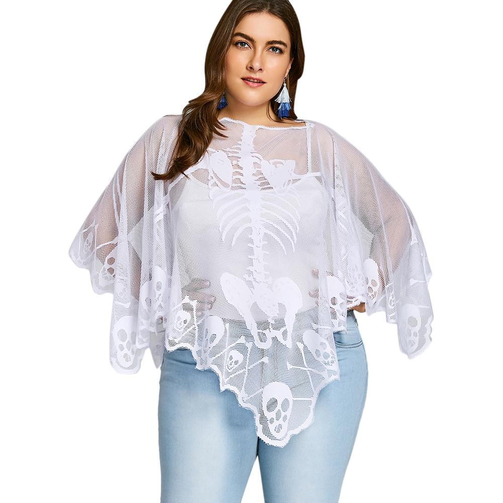 c87c5c902f0 2019 2018 Women Sexy Cover Up Blouse Plus Size Skeleton Lace See Through  Long Batwing Casual Poncho Blouse From Eventswedding