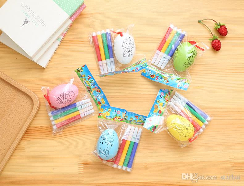 5 peças / set diy easter impressão frente e verso ovo crianças handmade graffiti cor egg shell brinquedos de decoração para casa presentes 6 cm wx9-340