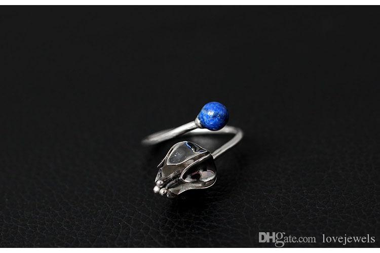 Charm Original 925 silver jewelry design inlaid with a blue gold stone finger to give birth to a ring of pure silver