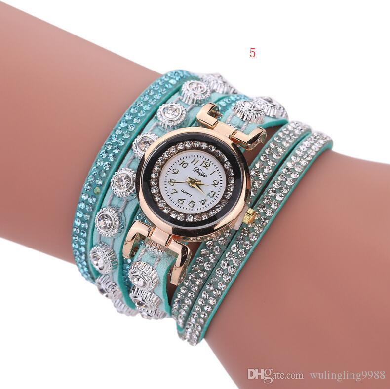 Fashion Women luxury Casual Analog Quartz Women Rhinestone Watch Bracelet Watch