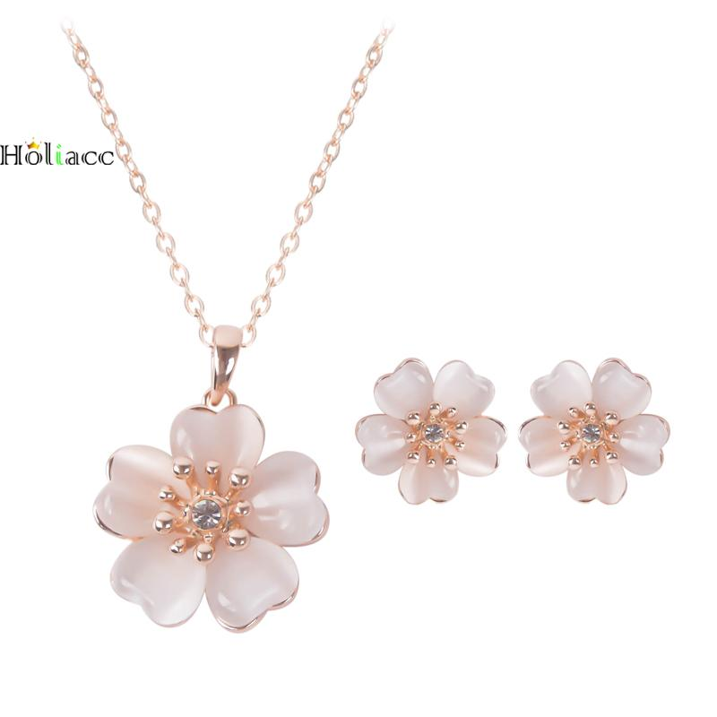 Cherry Blossoms Gold Color Pink Flower Pendant Crystal Necklace