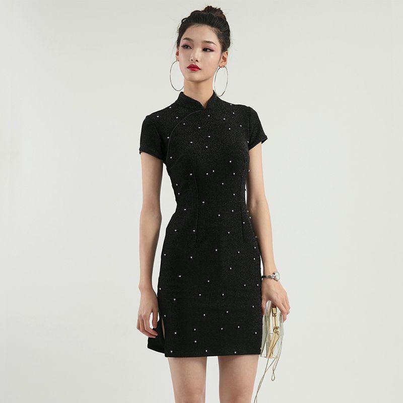 3b9792b757 2019 Womens Black Cheongsam Mujer Bead Handmade Summer Elegant Chinese  Dresses Office Ladies Silver Modern Slim Femme Wedding Qipao Bridesmaid  From Hongzixi ...