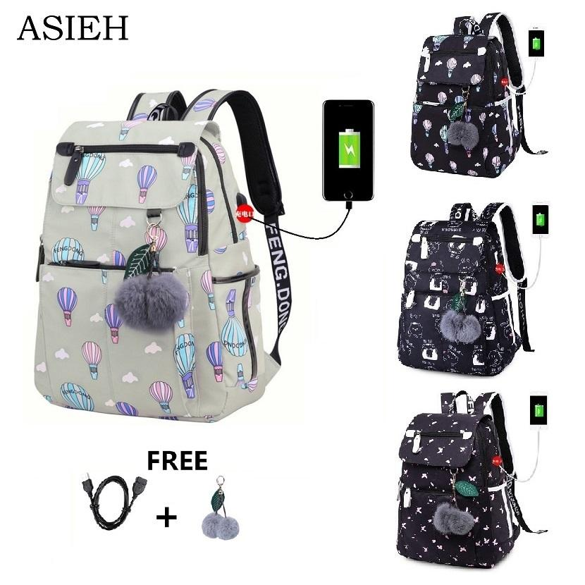 fb6a31e9e204 Teenage Backpacks female fashion school usb school bags for girls backpack  pack for women laptop backpack cartoon backpack women Y18110202
